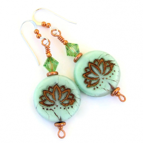 mint green copper lotus jewelry gift for her