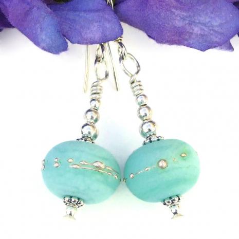 mint green earrings lampwork kryptonite fine silver