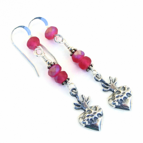 Unique Valentines milagro heart and pink glass earrings.