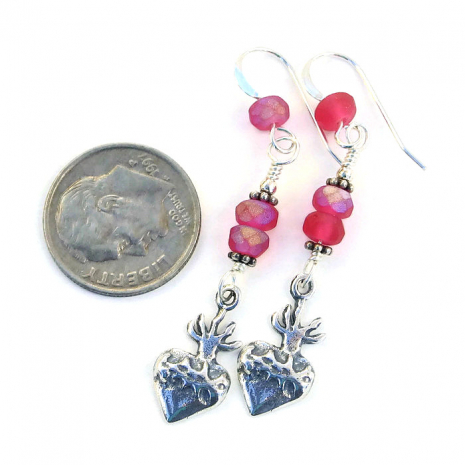 Sterling heart milagros and pink Czech glass dangle jewelry.