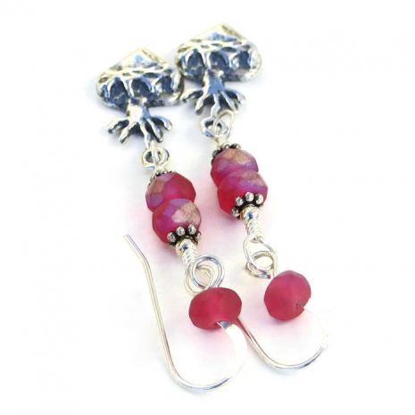 Artisan handmade milagro hearts and crown of thorns dangle earrings.