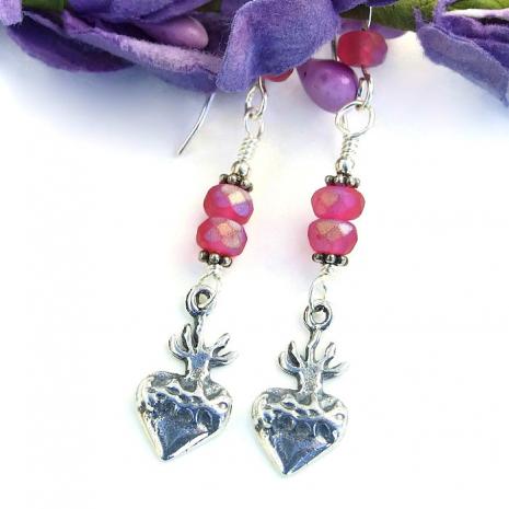 Unique milagro hearts handmade dangle earrings