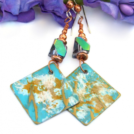 modern art style hand painted brass copper earrings