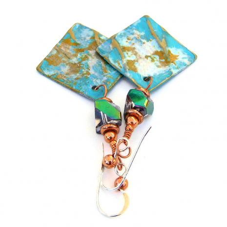 modern art style hand painted brass copper jewelry