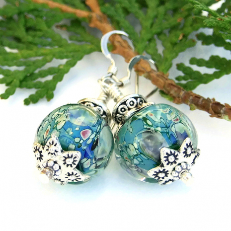 Unique aqua lampwork glass earrings