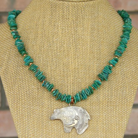 moon bear totem pendant necklace turquoise gift for women