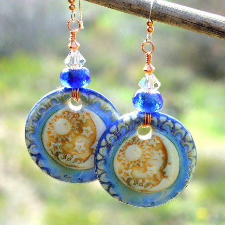 moon sun stars handmade earrings gift for women