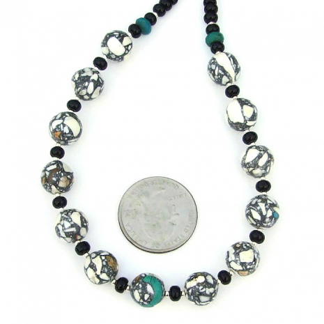 magnesite and black onyx gemstone jewelry for her