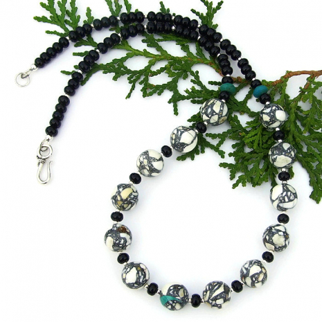 magnesite and black onyx gemstone necklace for her