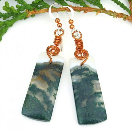 moss agate and copper spirals jewelry