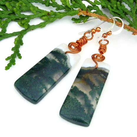 moss agate gemstone dangle earrings with copper