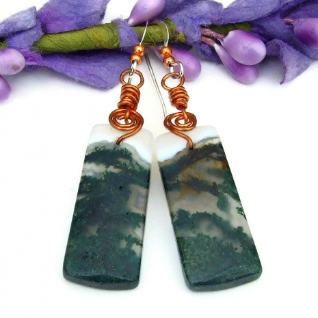 moss agate gemstone dangle jewelry with copper