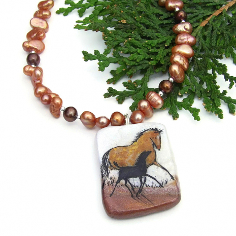 mother horse and baby horse pendant necklace gift for women