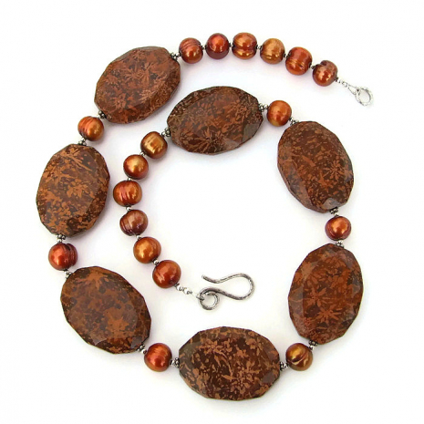 Starburst jasper and freshwater pearl necklace