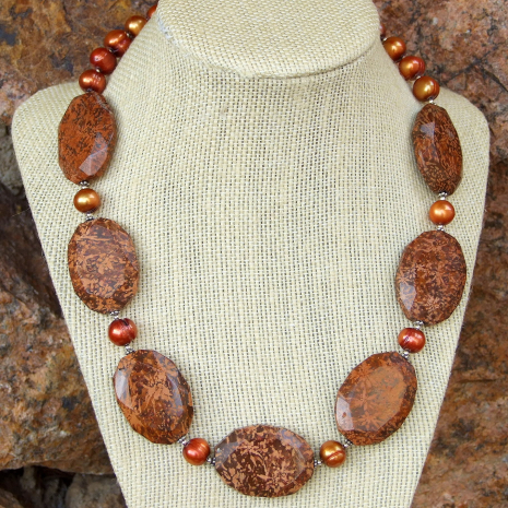 Chunky starburst jasper and pearl necklace for women.