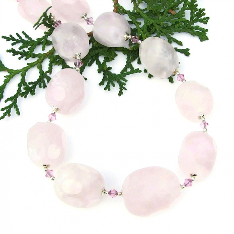 chunky rose quartz statement necklace mothers day gift