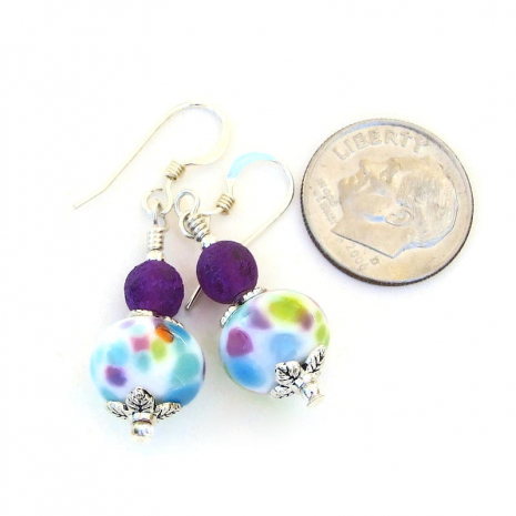 multicolored spotted lampwork glass earrings gift for her