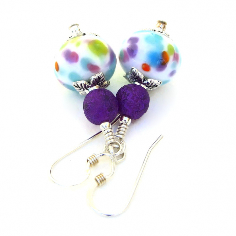 multicolored spotted lampwork glass jewelry gift for her