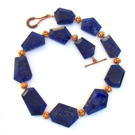 Lapis lazuli gemstone statement necklace