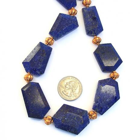Midnight blue handmade lapis lazuli gemstone necklace with copper,