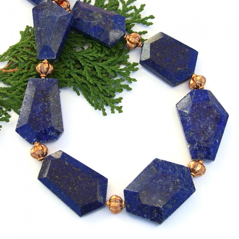 Chunky lapis lazuli necklace for women