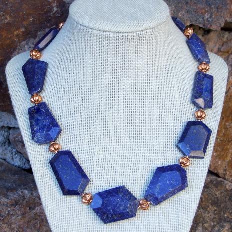 Handmade chunky lapis lazuli gemstone necklace