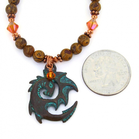 mykonos dragon pendant necklace gift for her
