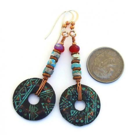 mykonos geometric donut earrings with rustic turquoise heishe jewelry