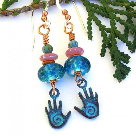 mykonos spiral hand earrings with lampwork