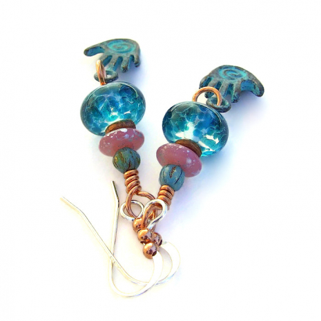 mykonos spiral hand jewelry with lampwork