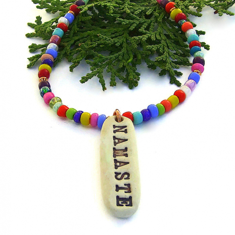 namaste necklace with multi color african christmas beads