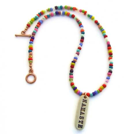 namaste yoga necklace with african christmas beads