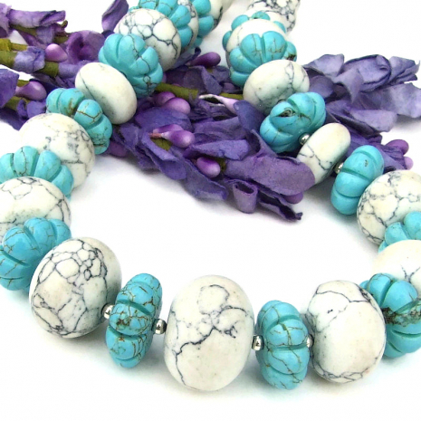 natural and turquoise magnesite chunky jewelry with sterling silver