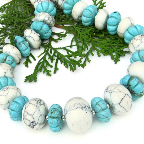 natural and turquoise magnesite chunky necklace with sterling silver