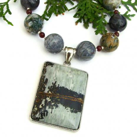 natural gemstone necklace jasper agate garnet
