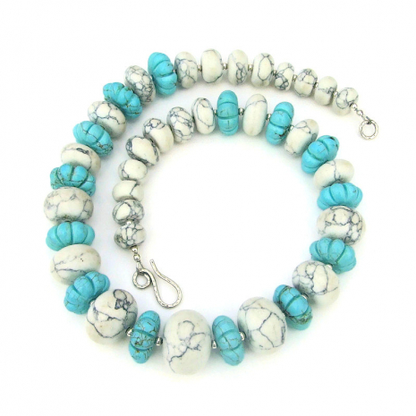 natural magnesite and turquoise magnesite gemstone jewelry gift for women
