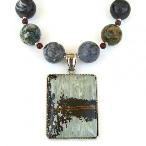 natures paintbrush jasper gemstone necklace gift for her