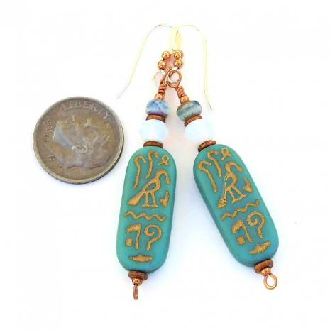 Lovely turquoise and gold Egyptian hieroglyph handmade earrings.