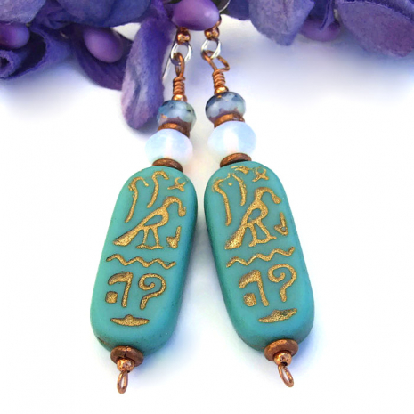 The hieroglyph earrings are perfect for the woman who loves hieroglyphs..