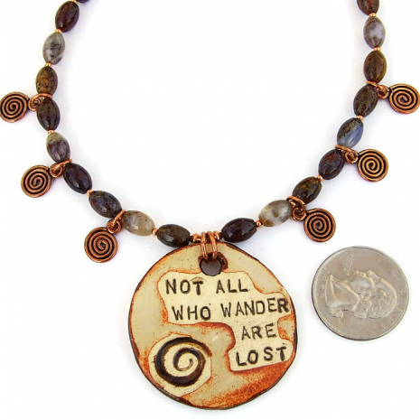 Artisan made pendant and spirals necklace with agate gemstones
