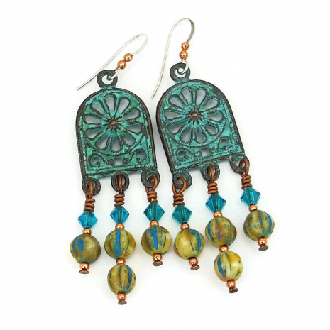 Handmade Mykonos chandelier earrings for her