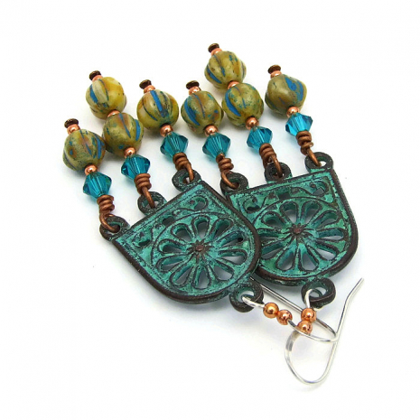 Turuqoise green Mykonos chandelier earrings with Czech glass and crystals.