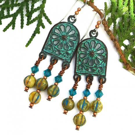 Notre Dame rose window chandelier boho earrings
