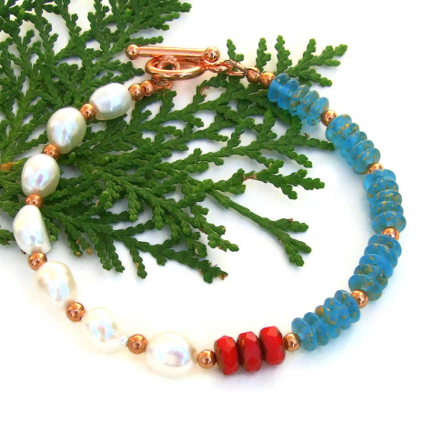 ocean themed bracelet white pearls aqua glass discs red coral glass beads
