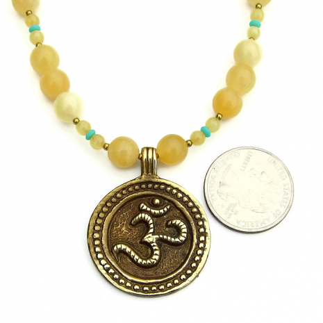 om necklace with yellow aragonite gemstones