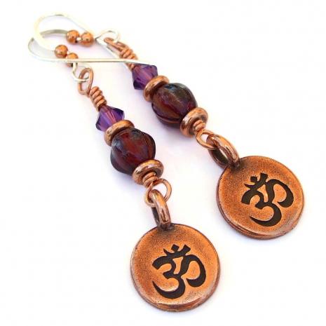 om meditation earrings gift for her