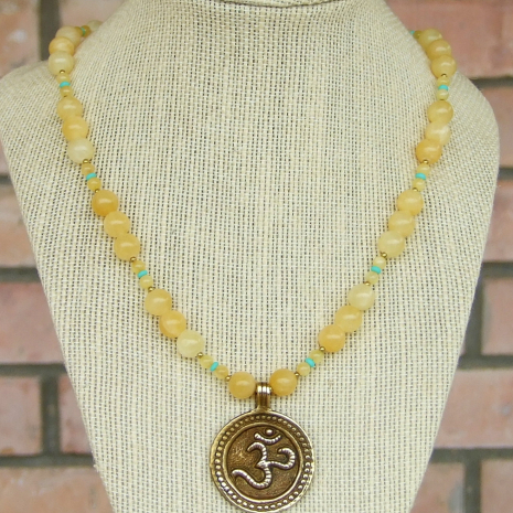aum om brass pendant yoga necklace for her