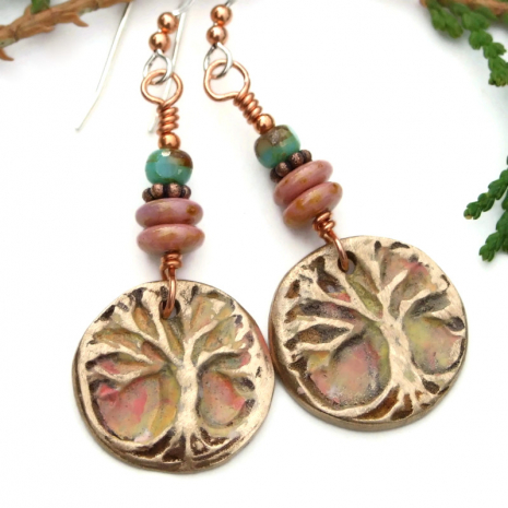 one of a kind bronze tree of life earrings with czech glass