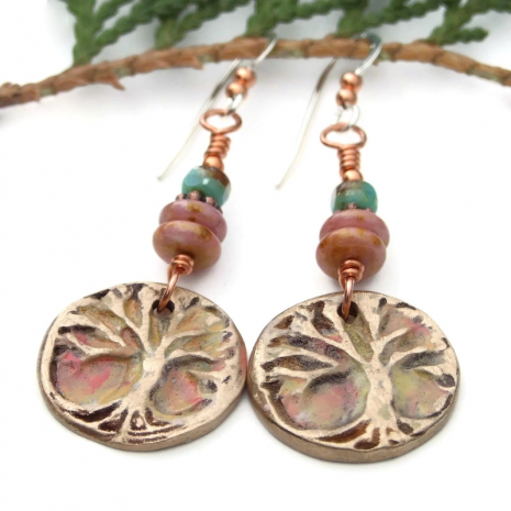 one of a kind bronze tree of life jewelry with czech glass