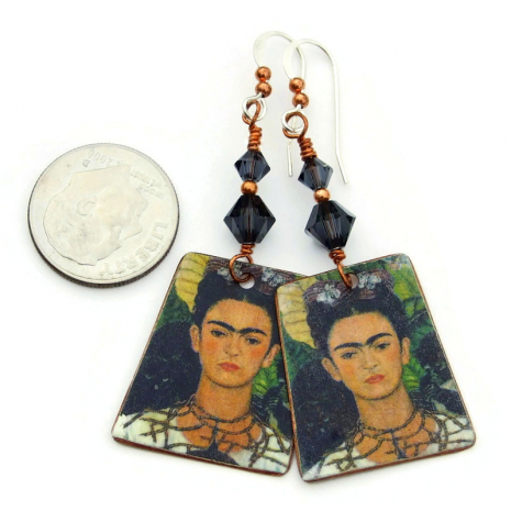 one of a kind frida kahlo copper earrings